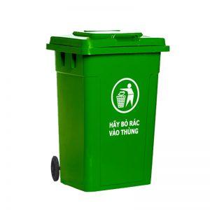 Thùng rác nhựa composite 60L xanh lá 2 bánh gia tot