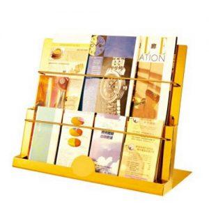 Kệ tạp chí inox mạ vàng để bàn