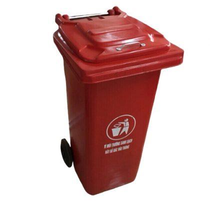 Thùng rác composite 240L đỏ nắp kín