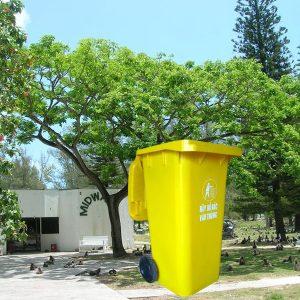 Thùng đựng rác nhựa composite 120l màu vàng