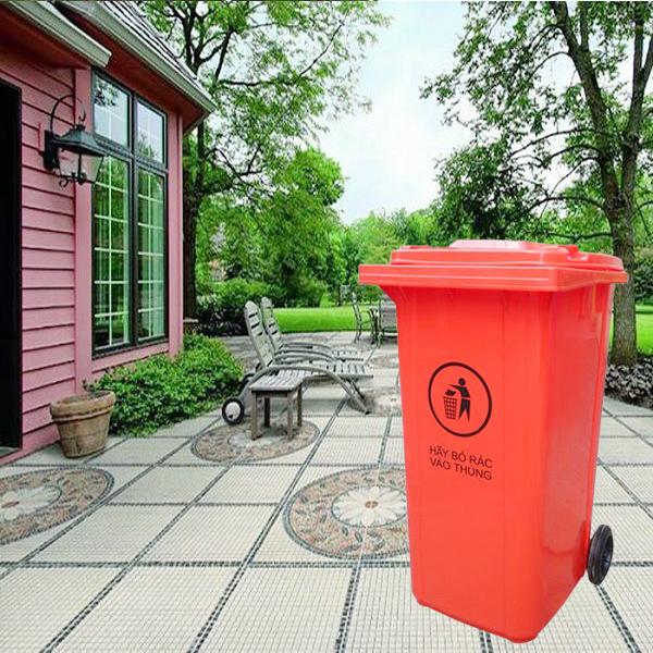 Thùng rác nhựa composite nắp kín 240L màu đỏ