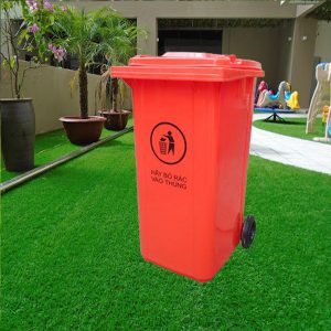Thùng đựng rác bằng nhựa composite 240 lít nắp kín màu đỏ