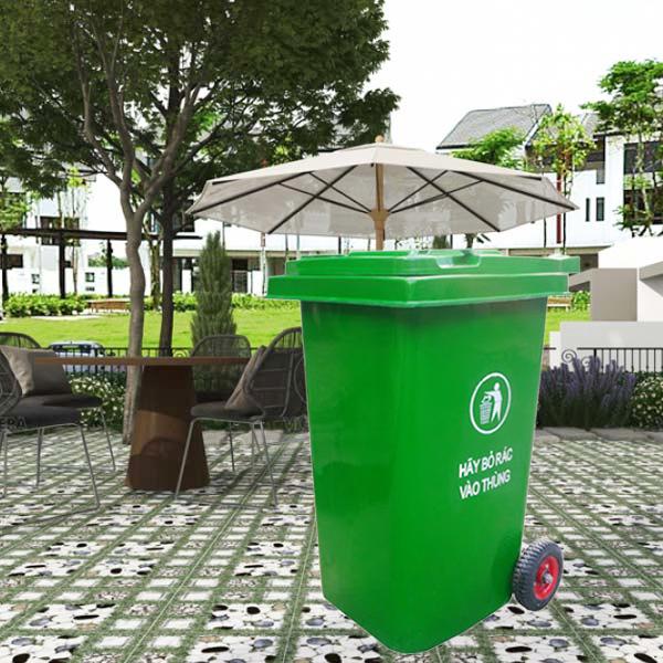Thùng rác 240l nắp kín được làm từ nhựa composite chất lượng