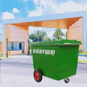 Thùng rác nhựa composite 660l có 3 bánh đúc