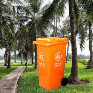 Thùng rác nhựa màu cam dung tích 120l