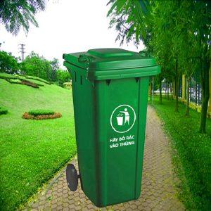 Thùng rác nhựa HDPE màu xanh lá cây dung tích 120l