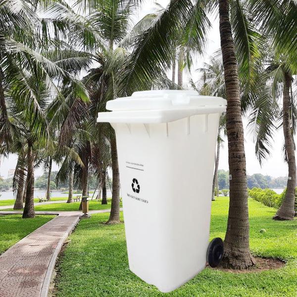 Thùng để rác nhựa HDPE 240L trắng có nắp và bánh xe linh hoạt