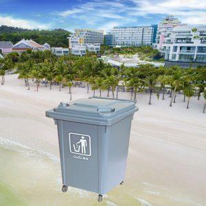 Thùng rác nhựa HDPE 60L màu ghi giá rẻ