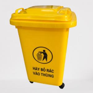 Thùng rác nhựa HDPE 60l màu vàng giá rẻ