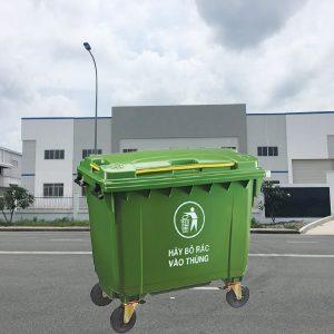Thùng rác nhựa HDPE màu xanh lá cây