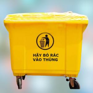 Thùng rác nhựa 660l màu vàng