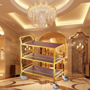 Xe đẩy đồ ăn inox vàng 3 tầng mặt gỗ