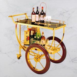 Xe đẩy rượu cao cấp inox vàng 2 tầng