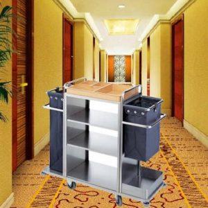 Xe dọn phòng khách sạn inox 2 túi vải bạt