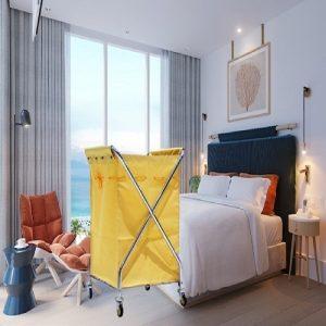 Xe giặt ủi khung inox túi vải bạt màu vàng nhạt