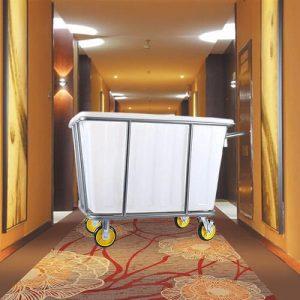 Xe giặt ủi khung sắt thùng chứa đồ bằng nhựa